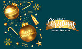 Modern Merry Christmas and Happy New Year greeting card design, winter design with golden ornaments on modern royal blue background. Vector Illustration