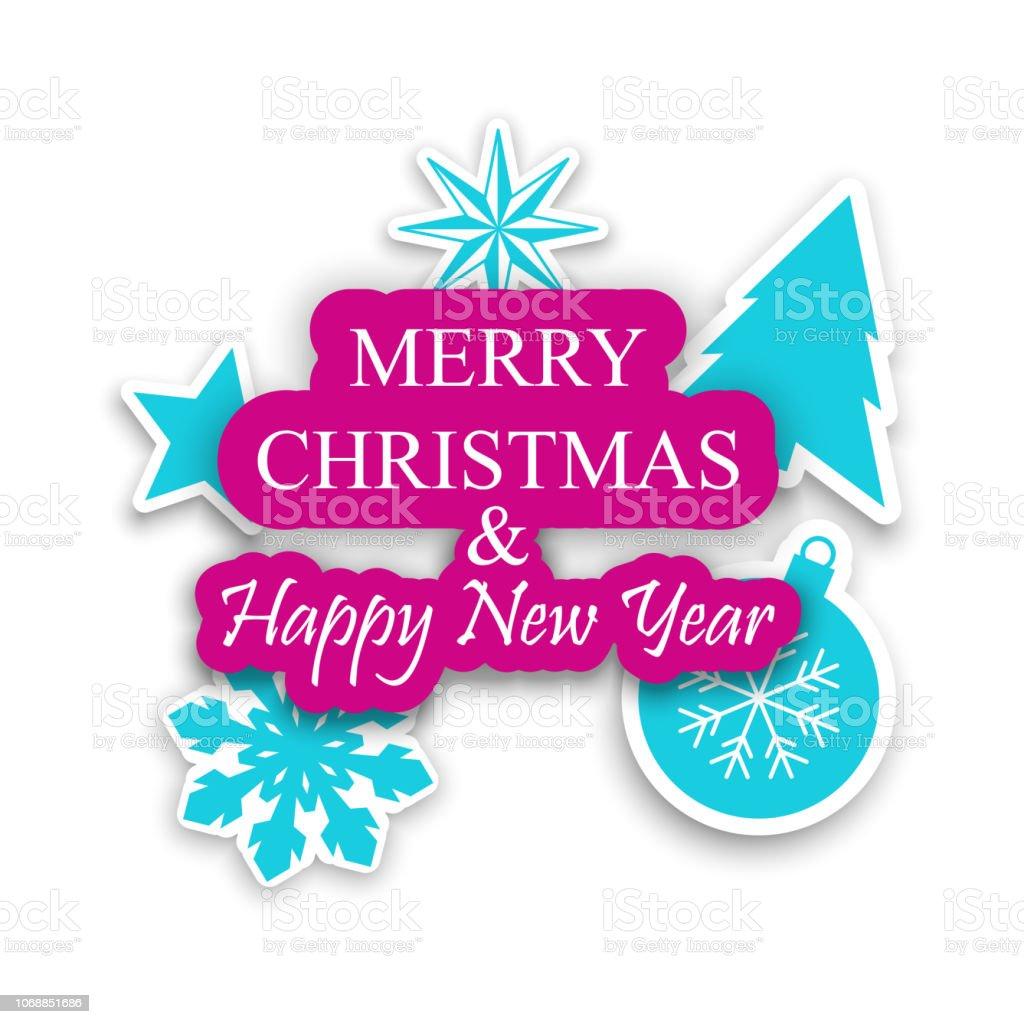 Moderne Christbaumkugeln.Moderne Frohe Weihnachten Und Happy New Year Weihnachtskarte Mit