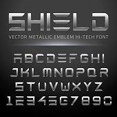 Modern Metallic Hi-Tech Font. Vector Techno Alphabet done in shiny metal