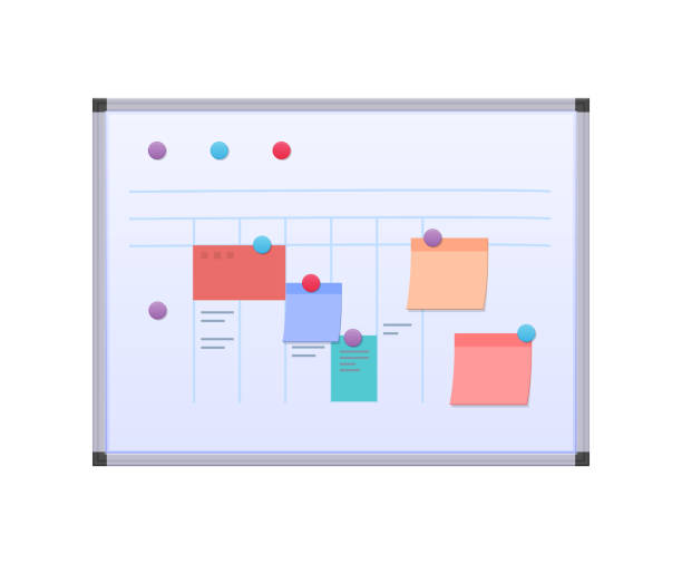 Modern metallic magnetic board with planned current affairs and tasks. Modern metallic magnetic board with planned current affairs and tasks, paper stickers with goals, magnetic holders. Planning of tasks, complex teamwork, organization of workflow. Vector illustration. cutting board stock illustrations
