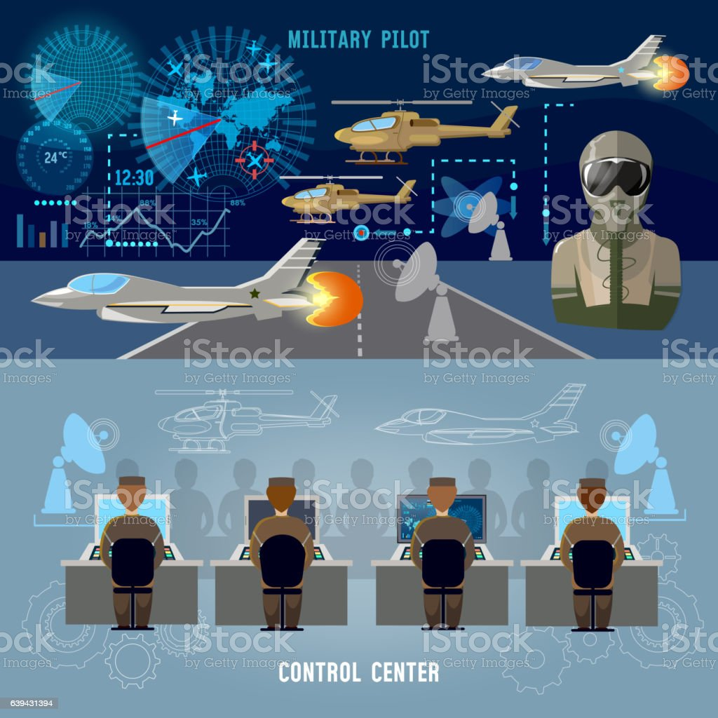 Modern military center banner. Military plane, helicopter vector art illustration