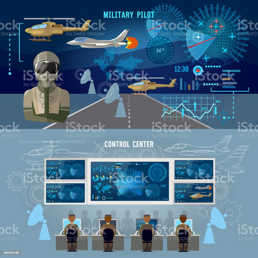 Modern military center banner. Radar screen with planes air force pilot. Modern army technology. Military plane, helicopter vector art illustration
