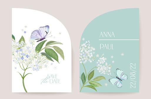 Modern minimal Art Deco wedding vector Invitation set. Boho white elderflower and butterfly card template. Spring flowers poster, floral frame. Save the Date trendy design, luxury brochure