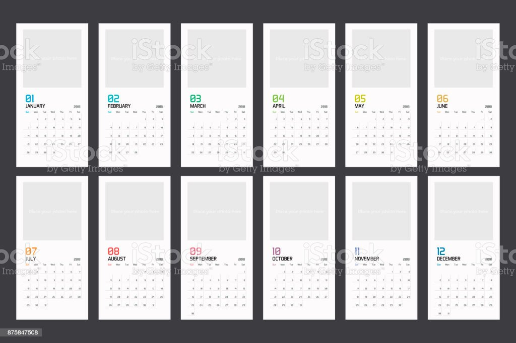 modern minimal calendar planner template for 2018 vector design editable template royalty free modern