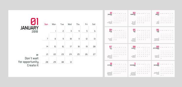moderne minimal planer kalendervorlage für das jahr 2018. vektor editierbare entwurfsvorlage mit klugen zitaten für erfolg. - kalendervorlage stock-grafiken, -clipart, -cartoons und -symbole