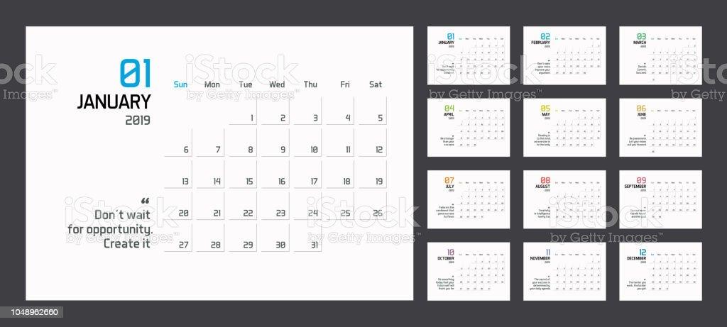 Modern minimal Calendar Planner Template for 2019. Vector design editable template with motivational quotes vector art illustration