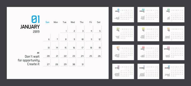 moderne minimal planer kalendervorlage für 2019. vektor editierbare entwurfsvorlage mit motivierenden zitate - tischkalender stock-grafiken, -clipart, -cartoons und -symbole