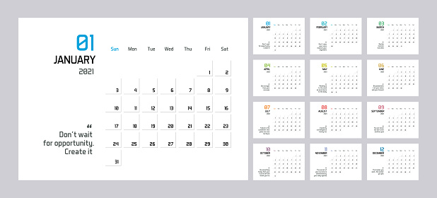 Modern minimal Calendar Planner Template for 2021. Vector design editable template with wise motivational quotes for success