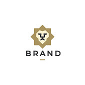 Modern minimal lion head and star vector logo. Classic heraldic lion face logo design. Premium luxury business symbol. Vector illustration.