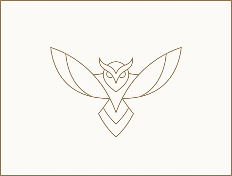 Modern minimal owl illustration. Linear owl logotype.