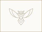 istock Modern minimal owl illustration. Linear owl logotype. 1281579461