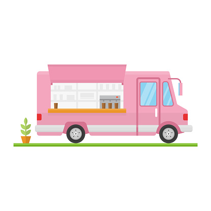 Modern minimalist food car design. Vector. Flat icon food truck front. For web design and application interface, also useful for infographics.