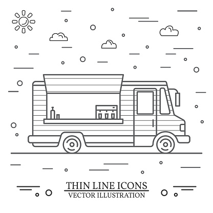 Modern minimalist food car design. Vector. Thin line icon food truck front. For web design and application interface, also useful for infographics.