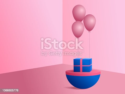 istock 3D modern minimalist mockup pink balloons and gift box for product presentation or showcase. 1066605776
