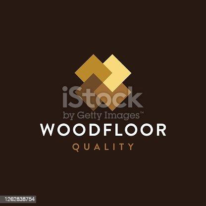 istock Modern minimalist wood flooring icon vector template 1262838754