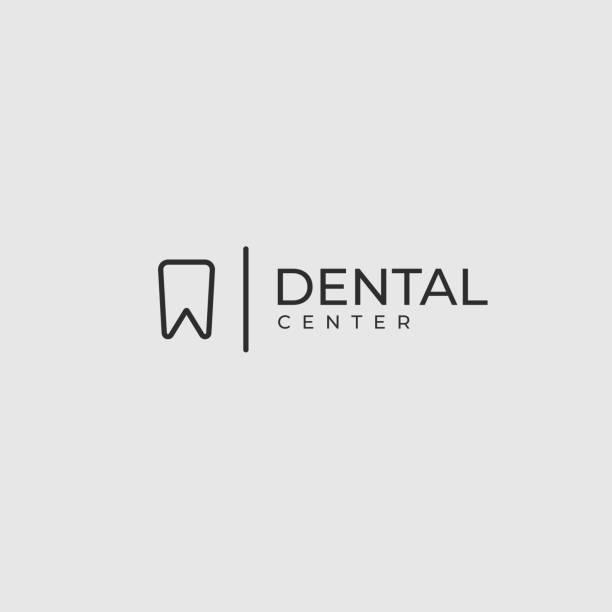 moderne minimalistische zahnarzt-logo-design-vorlage.  zahn kreative liniensymbol. zahnklinik vektor-zeichen-mark-icon. - zahnarzt logos stock-grafiken, -clipart, -cartoons und -symbole