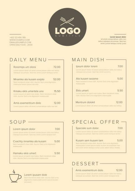 illustrazioni stock, clip art, cartoni animati e icone di tendenza di modern minimalistic restaurant menu template - menù