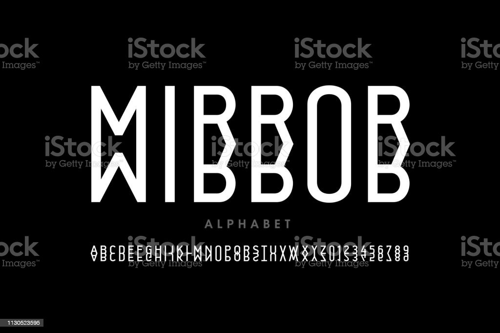 Modern Mirror Style Font Design Stock Illustration