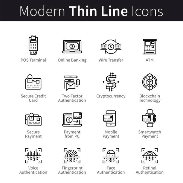 Modern mobile and desktop security icons Technology for banking, payment transactions, buying, selling. Modern mobile and desktop security. Blockchain cryptocurrency. thin black line art icons. Linear style illustrations isolated on white. atm stock illustrations