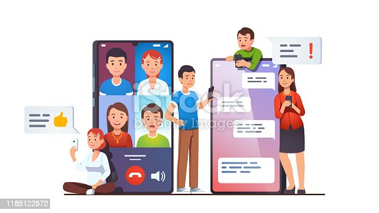 istock Modern mobile communication concept. Video group conference call and messaging apps on phone screens next to people using cellphones texting and talking online. Flat vector illustration 1185122572