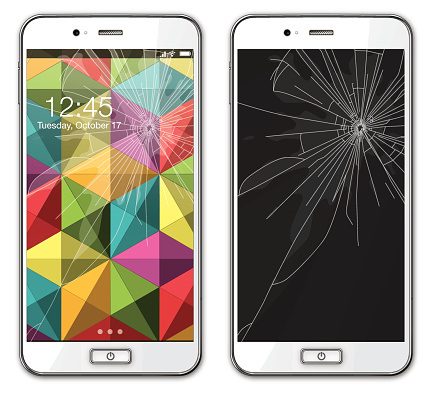 Modern mobile phone with broken glass - Illustration