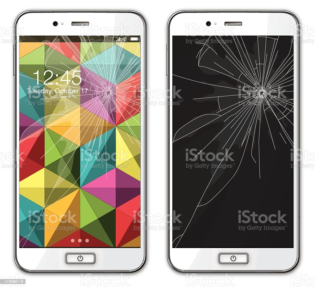 Modern mobile phone with broken glass - Illustration vector art illustration