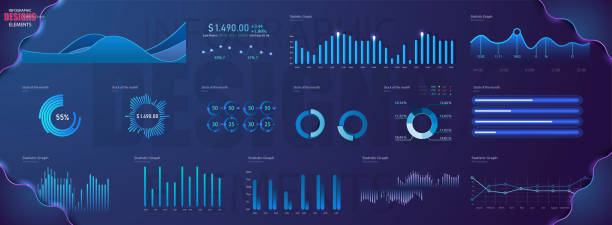 illustrations, cliparts, dessins animés et icônes de modèle de vecteur moderne infographie moderne avec les finances des statistiques graphiques. diagramme modèle et graphique graphique, illustration de visualisation de l'information graphique - infographie visualisation de données