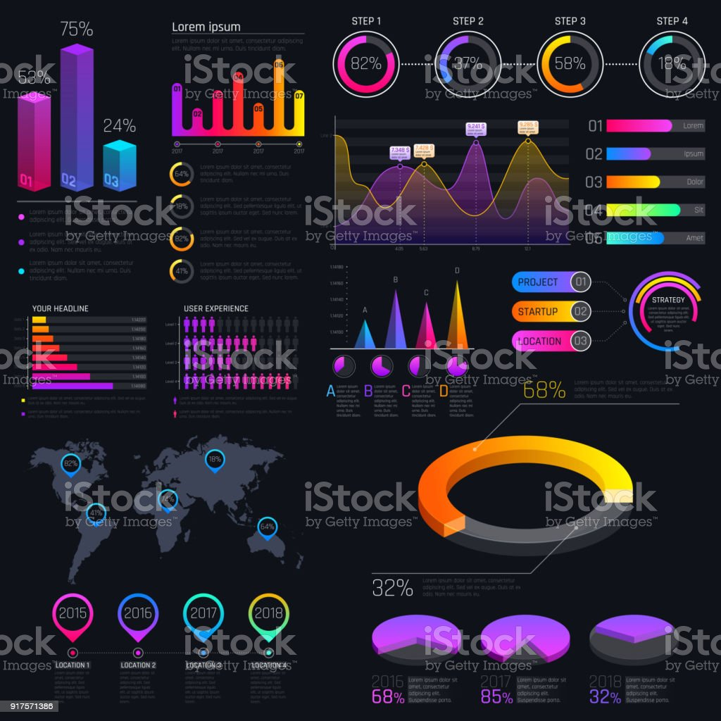 Modern modern infographic vector template with statistics graphs and finance charts vector art illustration