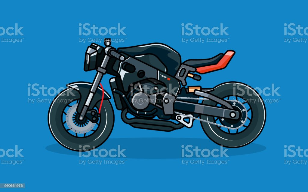 Modern modified racing motorbike, flat graphic vector art illustration