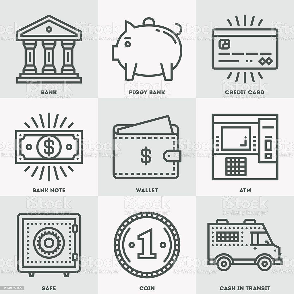 Modern Money and Banking Icon Set. vector art illustration
