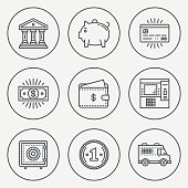 Modern Money and Banking Mono Linear Circle Icon Set. Trendy Simple Line Design Art Vector Illustrations.