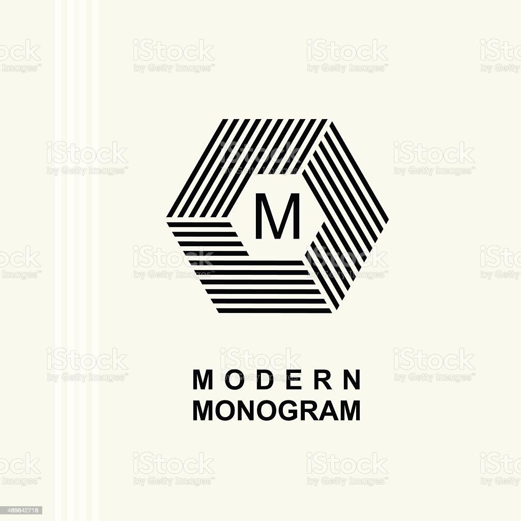 Modern monogram, emblem, logo. Hexagon, cube parallel stripes vector art illustration