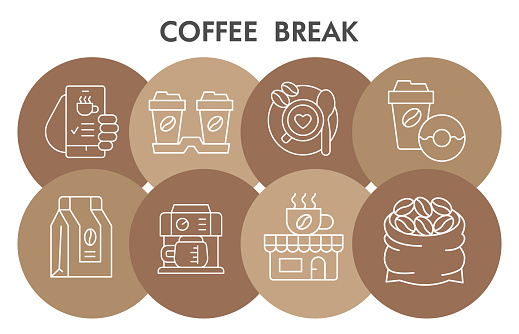 Modern Morning coffee break Infographic design template with icons. Coffee time Infographic visualization in bubble design on white background. Creative vector illustration for infographic.
