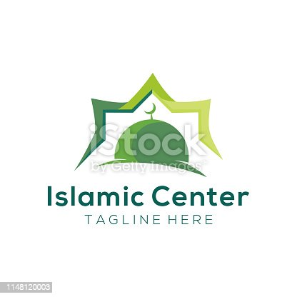 istock Modern mosque islamic center logo and icon design 1148120003