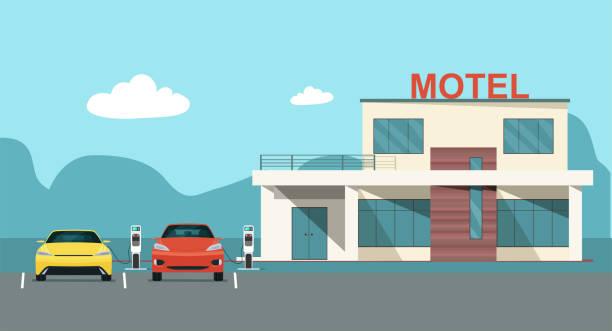 nowoczesny motel z parkingiem elektrycznym i stacjami ładowania. wektor płaska ilustracja stylu. - motel stock illustrations