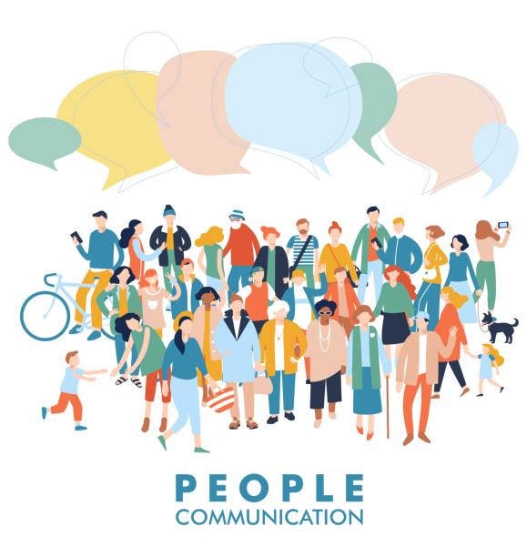 Modern multicultural society communication concept with crowd of people Group of different people in community with speech bubbles isolated on white background ethnicity stock illustrations