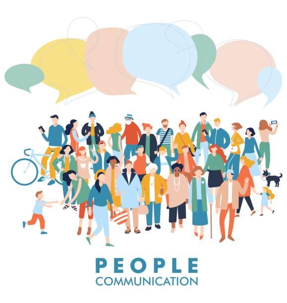 stockillustraties, clipart, cartoons en iconen met moderne multiculturele samenleving communicatieconcept met menigte van mensen - group of fans talking