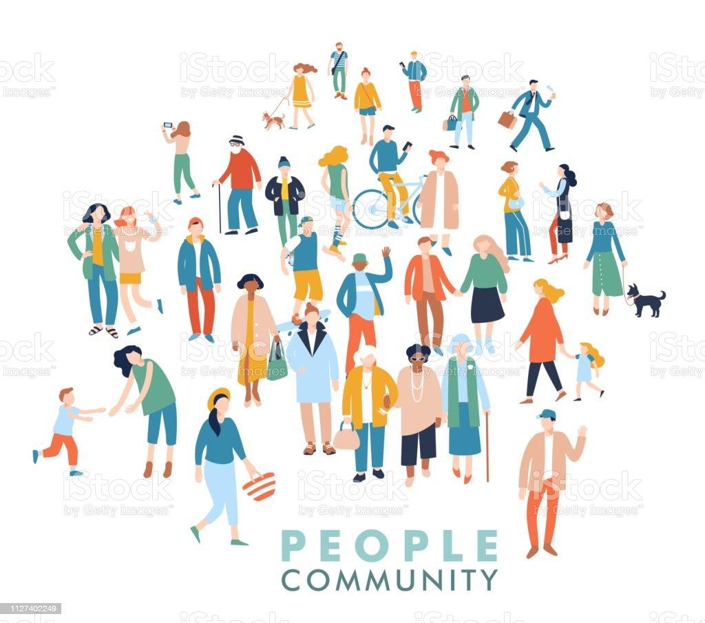 人々 の群衆の中に現代の多文化社会概念 - アフリカ民族のロイヤリティフリーベクトルアート