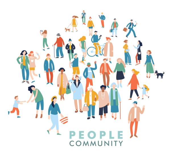 Modern multicultural society concept with crowd of people Group of different people in community isolated on white background community silhouettes stock illustrations
