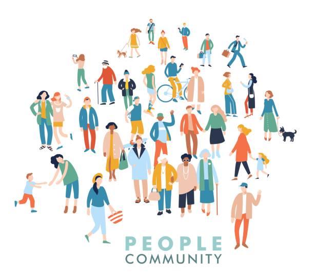 人々 の群衆の中に現代の多文化社会概念 - 歩く点のイラスト素材/クリップアート素材/マンガ素材/アイコン素材