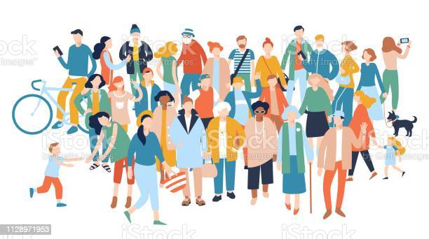Modern multicultural society concept with crowd of people vector id1128971953?b=1&k=6&m=1128971953&s=612x612&h=gip3jtr1zvgi5bcelougdox08wdm xyfvwhcbehgl w=