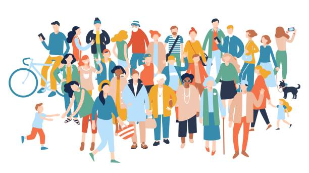 Modern multicultural society concept with crowd of people Group of different people in community isolated on white background crowd of people stock illustrations