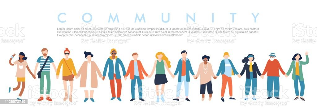 Modern multicultural society concept with people in a row. Group of different people in community standing together and holding hands. Vector illustration isolated on white background Adult stock vector