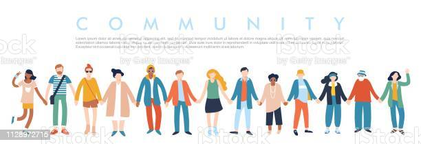 Modern Multicultural Society Concept With People In A Row Stock Illustration - Download Image Now