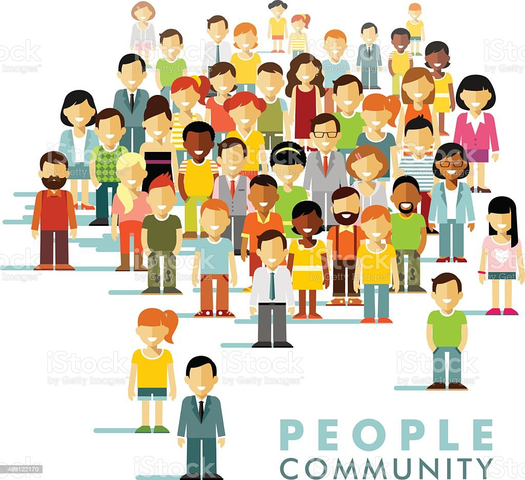 Modern multicultural society concept with people in flat style vector art illustration
