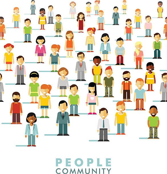 modern multicultural society concept with people in flat style - demographics infographics stock illustrations, clip art, cartoons, & icons