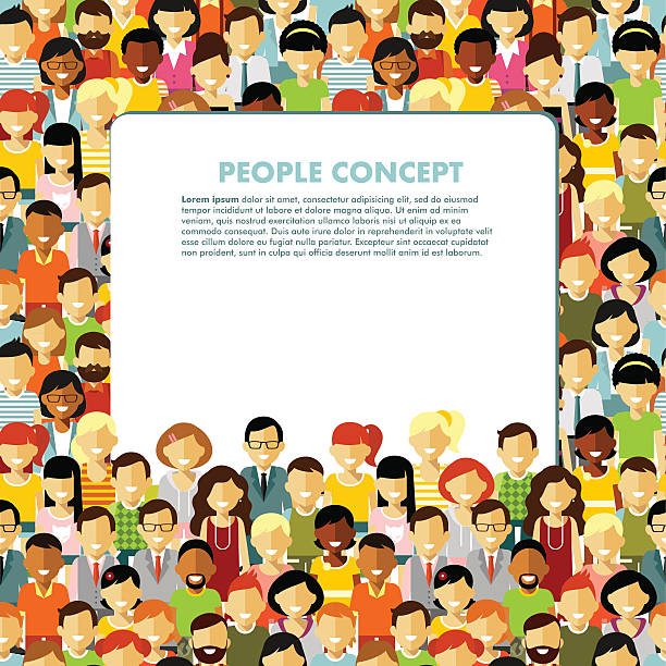 Modern multicultural society concept with seamless people background Group of different people in community and banner with empty space for your text community backgrounds stock illustrations