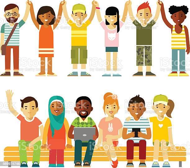 Modern multicultural society friendship concept with people in flat vector id589974746?b=1&k=6&m=589974746&s=612x612&h=l3lfufr8zk1x3vx7ktkxeah8hmdny3po9z6kq5li8 e=