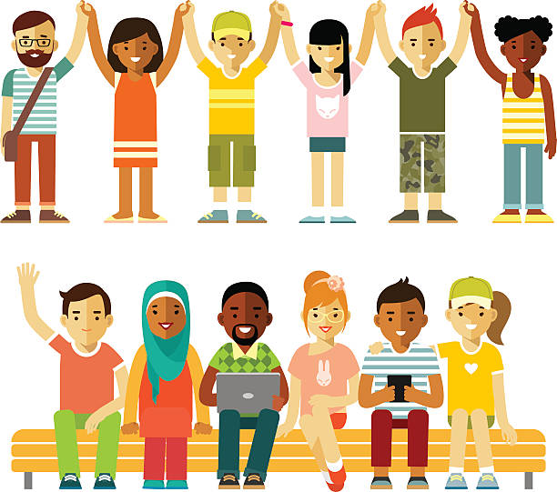 ilustrações de stock, clip art, desenhos animados e ícones de modern multicultural society friendship concept with people in flat style - crianças todas diferentes