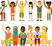Modern multicultural society friendship concept with people in flat style